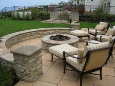 garden design Traditional Outdoor Round Patio Fire Pits