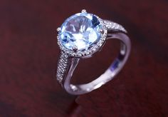 Blue and White Topaz Ring in Sterling Silver by 4DloveofJewelry14