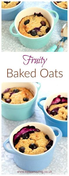 Kids Meals Easy fruity baked oats - 4 ingredient delicious and simple breakfast idea for kids and adults too - the perfect warmer for chilly mornings - Eats Amazing UK Oats Recipes, Baby Food Recipes, Cooking Recipes, Easy Cooking, Healthy Cooking, Jai Faim, Baked Oats, Yummy Food, Tasty