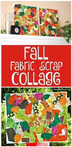 Fall Fabric Scrap Collage. Process art for toddlers, preschoolers, kindergarten, or elementary kids. Bright and colorful, great way to make REAL art with children and use up some fabric scraps while you're at it! #fall #fallcraft #kidscraft #fabric #fabriccraft #collage #craft #art #kidsart  #artforkids