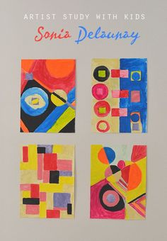 A Sonia Delaunay artist study for kids that includes how to create abstract art in her style with shapes and patterns.