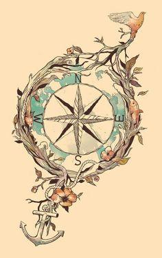 Tatto design | bird | anchor | compass | floral