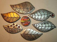 leaf pins | Polymer clay jewerly
