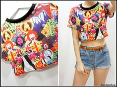 """Funny Evil Character Crop Top  One Size  Shoulder Cross: 15""""  Bust : 35""""  Waist: 30""""  Length: 15"""""""