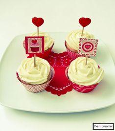 Valentine Cupcakes - strawberry cupcakes with lemon icing.