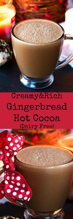 Gingerbread Hot Cocoa -- This decadent holiday hot chocolate is extra festive with a hint of gingerbread spice. You'll never know it's dairy free. It has 2 special ingredients that make it extra creamy and so rich. Christmas Drinks, Holiday Drinks, Holiday Recipes, Christmas Cooking, Holiday Foods, Christmas Ideas, Christmas Crafts, Grain Free, Dairy Free