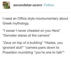 i would live for this << hehehe this is amazing I need this in my life Greek Gods And Goddesses, Greek And Roman Mythology, Percy Jackson Memes, Percy Jackson Fandom, Greek Memes, Lore Olympus, Hades And Persephone, Rick Riordan Books, Film School