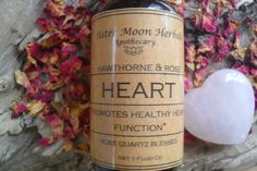Heart Tincture Hawthorn Tincture Rose by SisterMoonHerbals Rose Quartz, Herbalism, Ice Cream, Moon, Heart, Etsy, Herbal Medicine, No Churn Ice Cream, The Moon