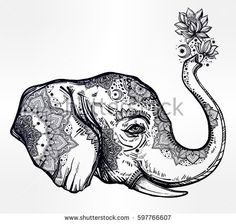Decorative vector profile elephant profile head tribal ornaments holding flowers in trunk. Ethnic background, tattoo, yoga, African, Indian, Thai, boho design. Use for print, posters t-shirts textiles