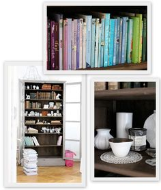 arranging your books according to color...love it!