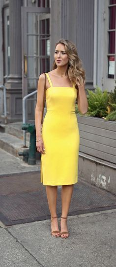 what to wear to a baby shower // lemon yellow sheath midi dress with thin straps and side slit, brown suede leather block heel sandals