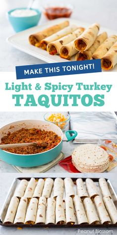 Easy baked turkey taquitos are a crispy way to enjoy tacos you can nibble. Spiced ground turkey is rolled up in a flour tortilla with cheese and then baked. Serve it with a simple side dish for a busy weeknight dinner your kids will love. Make Ahead Freezer Meals, Easy Meals For Kids, Kids Meals, Best Frozen Meals, Sunday Dinner Recipes, Football Snacks, Baked Turkey, Man Food, Ground Turkey