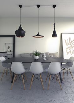 Interior design dining room - Architecturual Visualisation, Interior CGI, Eames Chairs and Tom Dixon lights Luxury Dining Room, Dining Room Design, Room Interior Design, Home Office Design, Living Room Chairs, Dining Chairs, Desk Chairs, Office Chairs, Tom Dixon Lighting