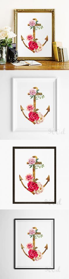 Vintage Flower Anchor Canvas Art Print Painting Poster, Watercolor Wall Pictures for Home Decoration, FA299 $7.5