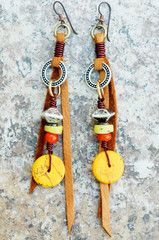 Tribal Earrings | Leather | Yellow | Orange | Dangle | XO Gallery | XO Gallery