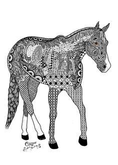 Zentangle of my horse Cooper.