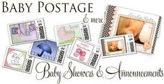 Baby Shower Postage Stamps & Invitations, Baby Announcement Postage Stamps ♥ Repinned by Annie @ www.perfectpostage.com