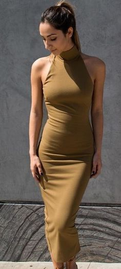 #summer #dashboutique #outfits | Camel Midi Dress