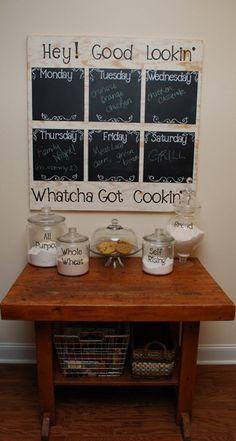 DIY Chalkboard Menu Planning Project Idea I am totally making this! New Kitchen, Kitchen Decor, Kitchen Ideas, Kitchen Notes, Kitchen Board, Kitchen Craft, Awesome Kitchen, Kitchen Living, Kitchen Interior