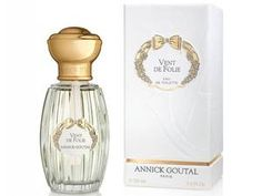 Annick Goutal Vent De Folie:   With notes of sweet pea, blood orange and geranium it is both floral and fruity with undertones of white musk. The fluted elegant bottle comes with a large, luxurious golden lid. It's an elegant, mature scent.