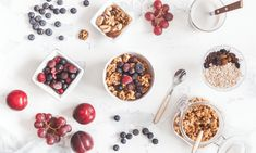 breakfast with muesli fruits yogurt frozen berries nuts on white background. Low Glycemic Fruits, Healthy Soda, Soy Latte, Prebiotic Foods, Soy Products, Mixed Berries, Kefir, Everyday Food, Perfect Food