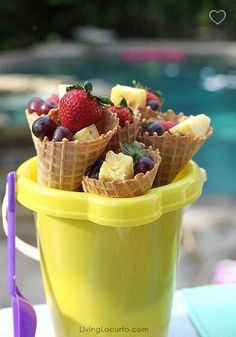 Waffle cones stuffed with fruit!