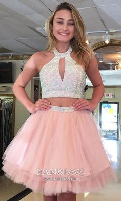 276dad219be A-line Halter Tulle Short Mini Tiered Prom Dresses. College Formal DressesWinter  Formal DressesJunior ...