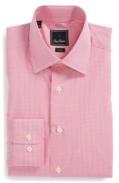 Men's David Donahue Trim Fit Gingham Dress Shirt