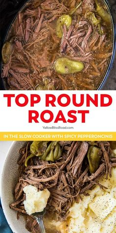Slow Cooker Top Round Roast cooks low and slow and is so tender and flavorful. Just add a few ingredients, then set it and forget it!