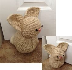 "Knitted Bunny Doorstop 13"" square pattern from https://josoandsew.wordpress.com/tutorials/knitted-bunnies/"