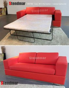 NEW FULL SIZE RED MODERN LEATHER SLEEPER SOFA BED S5750 #StendmarUSA #Contemporary