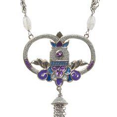 "Purple Rain Pendant Necklace  White Bronze, Enamel, Fringe Electroplated #Necklace - 25-28"". ES736 #handcrafted #gift #jewelry #designer #esbedesigns"