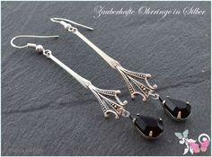 Ohrhänger - XL Art Deco Vintage Ohrhänger Silber schwarz lang - ein Designerstück von Zauberhafte-Ohrringe-in-Silber bei DaWanda