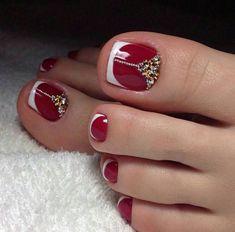 Gem Nail Designs, French Pedicure Designs, Toenail Art Designs, White Nail Designs, Pedicure Colors, Pedicure Nail Art, Manicure E Pedicure, Toe Nail Art, Pedicure Ideas