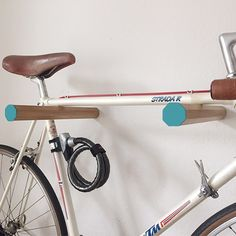 Ash wood bike rack/Bike hanger/ Bicycle storage/Bike by NaiveNoir Wood Bike Rack, Bicycle Rack, Bicycle Wheel, Bike Storage Solutions, Storage Ideas, Bike Storage Apartment, Apartment Ideas, Indoor Bike Rack, Bike Wall Mount