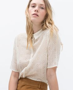 Embroidered Shirt w/ Collar - Classic Shirt Collar. Concealed Button Closure. Off-White. XS-L = $79.90USD