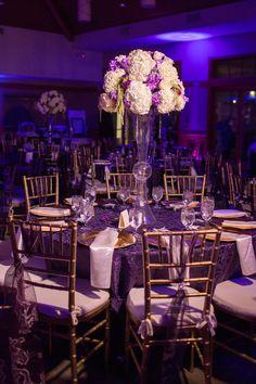 Purple, gold wedding decor