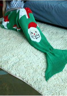 Christmas Tree Mermaid Tail Blanket