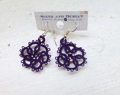 Tatted lace earrings, purple earrings, women's accessories, women's jewelry, handmade earrings, pierced ears, women's gift idea