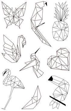 Double paper 'My Little Scissors – Dessin origami Geometric Deer, Geometric Drawing, Geometric Shapes, Geometric Tattoos, Geometric Designs, Pencil Art Drawings, Easy Drawings, Art Sketches, Drawing Drawing