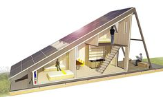 Solar Cabin: modular refugee housing with an energy-generating solar field., Solar Cabin: modular refugee housing with an energy-generating solar field. Solar Cabin is one of six winners of the Home Away from Home design comp. Architecture Durable, Sustainable Architecture, Modern Architecture, Pavilion Architecture, Sustainable Design, Residential Architecture, A Frame Cabin, A Frame House, Casas Containers