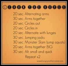 Battle rope workout I'd change the time for some but pretty fun!
