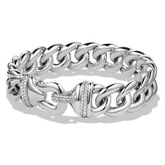 David Yurman Buckle Bracelet with Diamonds in Silver, 14mm ($2,350) ❤ liked on Polyvore featuring jewelry, bracelets, david yurman bangle, silver diamond bracelet, buckle bangle, silver bracelet bangle and diamond bracelet