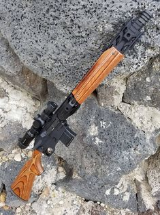 receivers, turned into a hunting rifle, with beaitiful furniture parts. Weapons Guns, Guns And Ammo, Rifles, Bushcraft, Ar Rifle, Custom Guns, Military Guns, Weapon Concept Art, Cool Guns