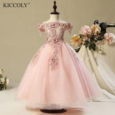 Sleeveless Wedding Party Flower Girl Luxury Ball Gown Pink Organza