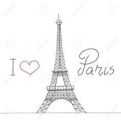 I Love Paris. Eiffel Tower. Yo amo a París. Torre Eiffel.