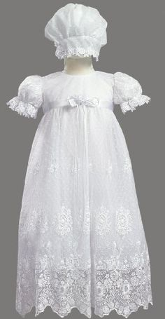 $93.95-$110.00 Baby White Embroidered Tulle Lace Christening Baptism Gown - Size S (3-6 M) - Beautiful gown with embroidered tulle lace.  Accented with a satin sach and bow with a rosette.  Comes with a matching bonnet.  Beautiful heirloom gown for christening or baptism.  Made in the U.S.A. http://www.amazon.com/dp/B00303CYBC/?tag=pin2baby-20