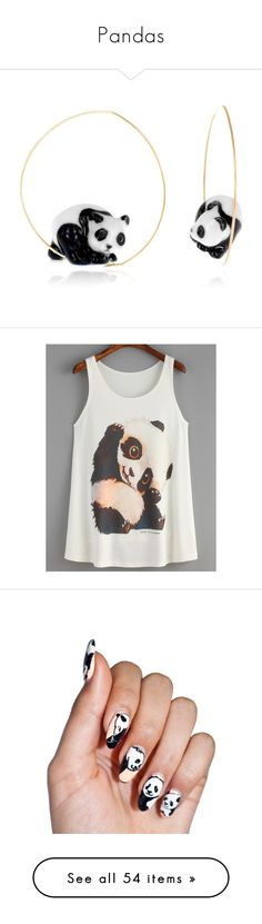 """Pandas"" by dope-tastick ❤ liked on Polyvore featuring panda, jewelry, earrings, panda bear jewelry, panda bear earrings, nickel free earrings, earrings jewelry, panda earrings, tops and white tank top"