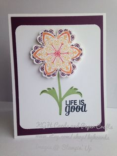 Life is Good colorful flower card by KGHCards on Etsy, $2.25