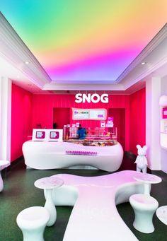 Barrisol translucent RGB lightbox installed at Snog yogurt in London